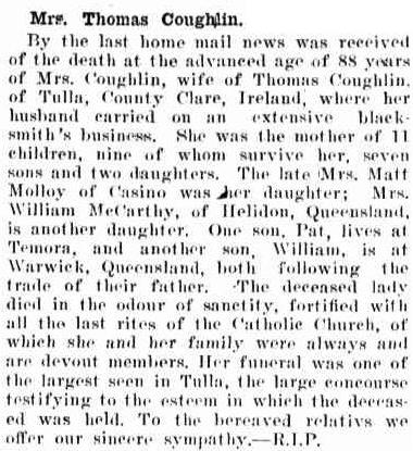 The Catholic Press, 2 December 1909, page 29 http://nla.gov.au/nla.news-article105189662