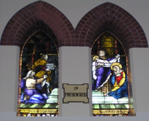 These stained glass windows in St Peter's Catholic Church, Surry Hills, Sydney commemorate the Garvey and Hogan parents' lives.