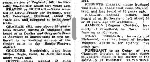 Eugene Sampson, Missing Friends. Sunday Times, Perth, 26 January 1913, page 15S