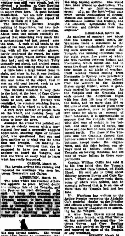 The Northern Miner, 31 March 1911, page 5. There is such pathos in reading of the elderly woman whose two sons and a nephew were on board. http://nla.gov.au/nla.news-article80349950