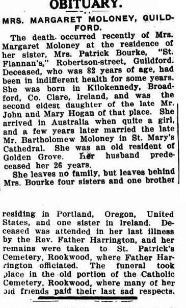 OBITUARY. (1925, October 1). Freeman's Journal (Sydney, NSW : 1850 - 1932), p. 31. Retrieved March 18, 2014, from http://nla.gov.au/nla.news-article116762697