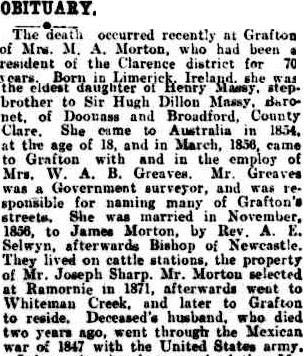 OBITUARY. (1926, February 13). The Queenslander (Brisbane, Qld. : 1866 - 1939), p. 16. Retrieved March 18, 2014, from http://nla.gov.au/nla.news-article22751715