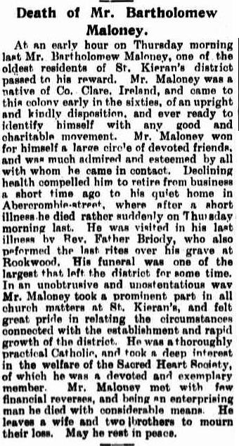 Death of Mr. Bartholomew , Maloney. (1899, December 23). The Catholic Press (Sydney, NSW : 1895 - 1942), p. 16. Retrieved March 20, 2014, from http://nla.gov.au/nla.news-article104667269