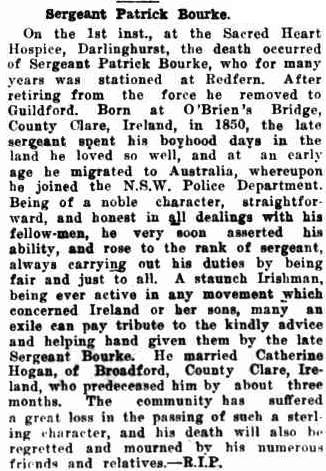 Sergeant Patrick Bourke. (1931, May 28). The Catholic Press (Sydney, NSW : 1895 - 1942), p. 33. Retrieved December 2, 2014, from http://nla.gov.au/nla.news-article103847007