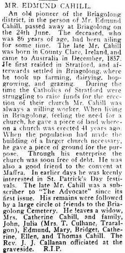 MR. EDMUND CAHILL. (1921, July 14). Advocate (Melbourne, Vic. : 1868 - 1954), p. 17. Retrieved March 11, 2015, from http://nla.gov.au/nla.news-article171239108