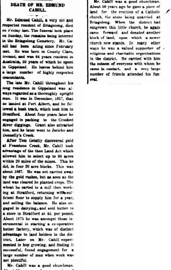 DEATH OF MR. EDMUND CAHILL. (1921, June 30). Gippsland Times (Vic. : 1861 - 1954), p. 7. Retrieved March 11, 2015, from http://nla.gov.au/nla.news-article62593373