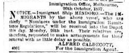 Advertising. (1857, October 26). The Argus (Melbourne, Vic. : 1848 - 1957), p. 7. Retrieved March 11, 2015, from http://nla.gov.au/nla.news-article7141033